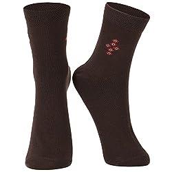 DUKK Men's Solid Brown Ankle Length Socks