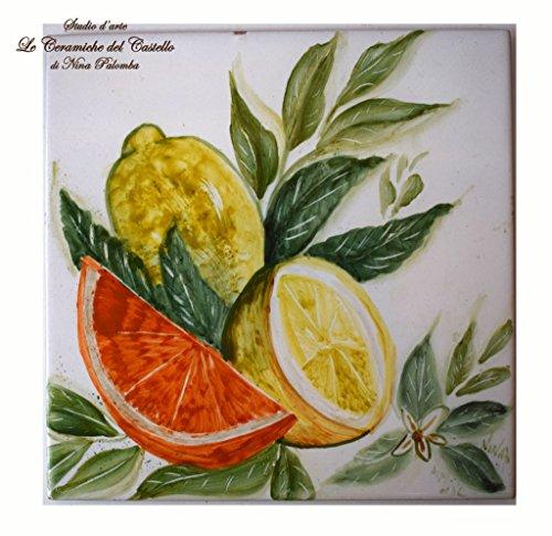 Mattonella artistiche da murare sottopentola limoni e arancia dimensioni cm.20 x 20 ceramica handmade le ceramiche del castello nina palomba made in italy