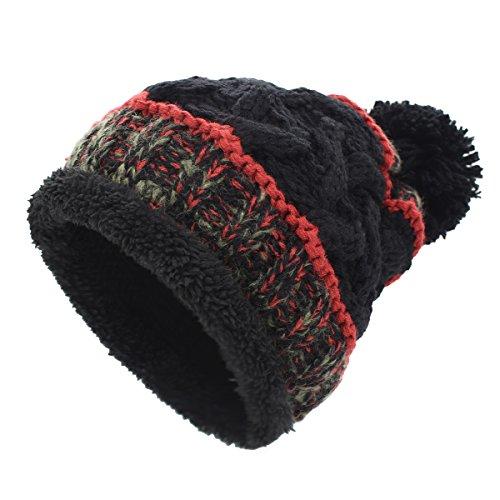 Sombreros de punto para las mujeres - YOPINDO Girls Beanie Hat lana de invierno de invierno de esquí al aire libre Snowboard Bobble hemming sombreros Gorra con lindo Big Ball Pom Pom (Negro 1)