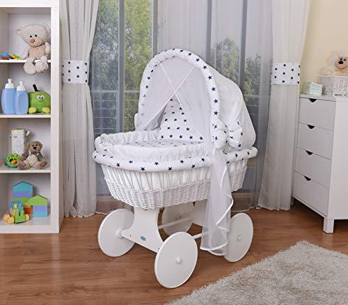 WALDIN Baby Stubenwagen-Set mit Ausstattung,XXL,Bollerwagen,komplett,44 Modelle wählbar,Gestell/Räder weiß lackiert,Stoffe weiß/Sterne-blau