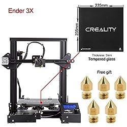 Comgrow Creality 3D DIY Impresora 3D Ender-3X con Placa de Vidrio Templado y Cinco Boquillas 220 * 220 * 250 Tamaño de impresión
