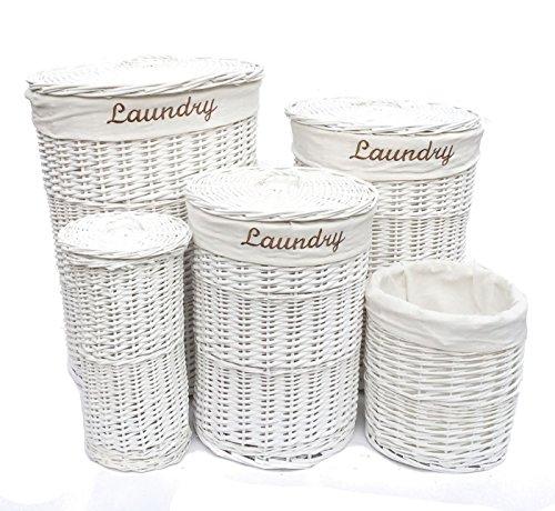 Shabby Chic Weiße Vollweide rund Wäschekorb BIN Toilettenpapierhalter + Futter, Textil, Large Laundry Basket (Gefüttert-speicher-körbe)