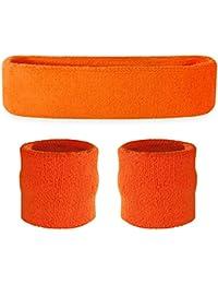 Suddora–Juego de muñequeras (1diadema y 2muñequeras) para deportes de algodón y más, naranja