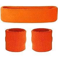 Conjunto deportivo de cinta para la cabeza y muñequeras Suddora, hombre, naranja