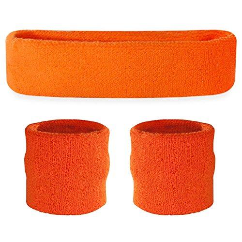 Suddora Schweißband-Set, Stirnband und Armbänder, für den Sport - orange