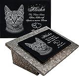 LaserArt24 Granit Grabstein, Grabplatte oder Grabschmuck mit dem Motiv Katze-gg08s und Ihrem Foto/Text und Daten