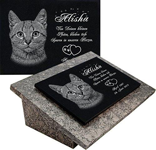 """GRANIT Grabstein, Grabplatte oder Grabschmuck mit dem Motiv """"Katze-gg08s"""" und Ihrem Foto/Text und Daten von LaserArt24"""