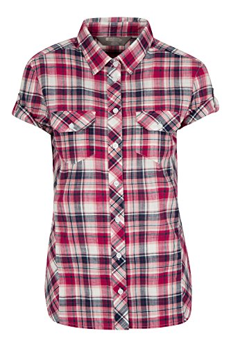 mountain-warehouse-holiday-damen-kariertes-t-shirt-100-baumwolle-bluse-leicht-atmungsaktiv-alltag-fr