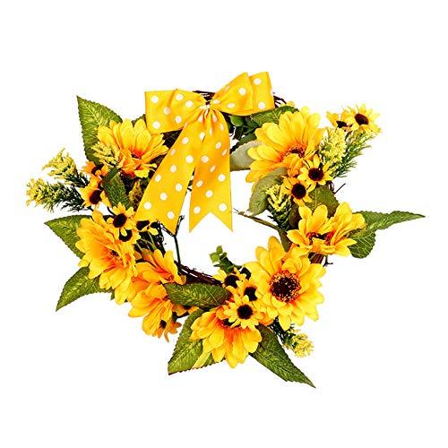 belupai K¨¹nstliche Thanksgiving Herbst Haust¨¹r Kranz Handwerk Gr¨¹n Blume Bl?tter Garland Indoor Wand Dekor Ornamente f¨¹r Herbst (gelb) -