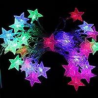 5M 40 LEDs Guirlandes Lumineuses Étoile à Piles, Cuitan Multicolore Dimmable String Lights Lumières Décoratives avec Télécommande Fairy Light pour Noël, Partie, Jardin, Mariage, Arbre, Balcons, Décoration Festive - Multicolore