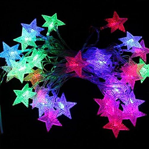 40 LED Lichterkette Sterne, Cuitan mit Fernbedienung 5M Mehrfarbig Dimmbar String Lights Batteriebetrieben Gartenlicht Fairy Lights Schnur Lichter für Weihnachten, Party, Garten, Hochzeit, Baum, Terrasse, Fest Deko - Mehrfarbig