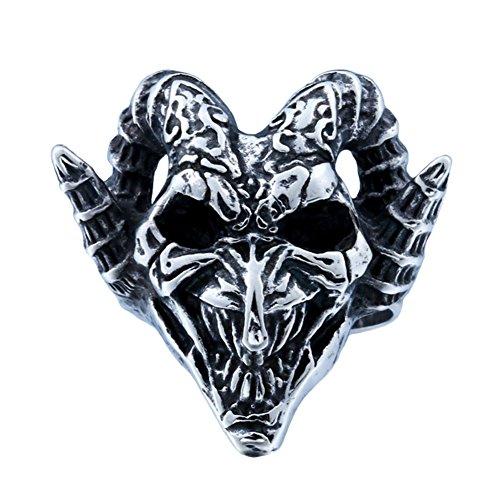 PAMTIER Herren Edelstahl Jahrgang Ziege Ram Horn Teufel Schädel Ring Schwarz Silber Größe 68 (21.6) - Schädel-ringe-titan