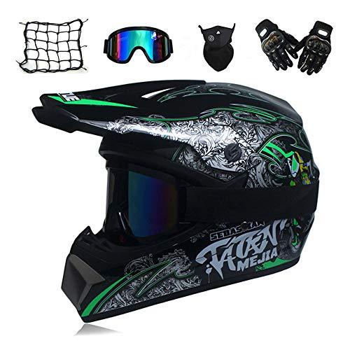 MRDEAR Casco Motocross Set (5 PCS), Nero/DOT, Adulto Casco MTB Integrale Cross Casco Moto per Bici Enduro off Road Downhill ATV con Paraorecchie Amovibili,M