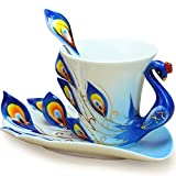 Cozyswan Artware Porzellan Teetasse mit Untertasse Kaffeetasse Persönliche Geschenke 1 Tasse 1 Untertasse 1 Löffel Pfau blau