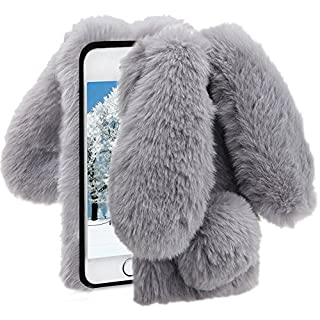 Herzzer Grey Soft Case for iPhone 7 Plus,Diamond Crystal Furry Cover for iPhone 8 Plus, Luxury Cartoon Rabbit Ear Design Fluffy Hairy Silicone Rubber Protective Case