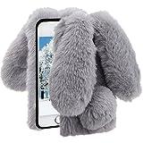 Herzzer Fourrure Gris Paillette Coque pour iPhone 7 Plus/8 Plus Hiver Chaud Soft Etui...