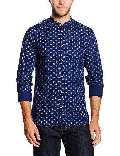 Jack & Jones Premium Jjprfred Mao Shirt L/s Plain, Chemise de Loisirs Homme Multicolore - Mehrfarbig (Dark Navy Detail:AOP / SLIM FIT)