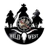 YUN Clock@ Texas Western Cowboy Wanduhr aus Vinyl Schallplattenuhr Upcycling Familien Dekoration 3D Design-Uhr Wohnzimmer Schlafzimmer Restaurant Wand-Deko Kunst Geschenk/Durchmesser 30 cm