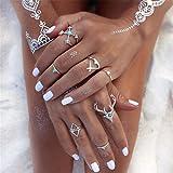 Elistelle 6pcs/Set Vintage Frauen Ringe über Knöchel Midi Finger Tip Ring Schmuck