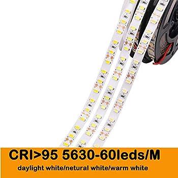 735b9471f45 MARSWALLED LED Strip Light CRI RA 80+ 90+ 95+ 97+ SMD5630 16.4Ft(5M)  300LEDs Daylight White 5600K 60LEDs M DC12V 10mm White PCB Flexible Ribbon  Strip (CRI ...