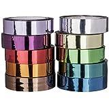 Deko-Klebeband, Spiegelfolie, 10mm x 10m, 10 Rollen | Washi Tape | Masking Tape | Dekoband | hochglänzend, spiegelnd, 10 verschiedene Farben