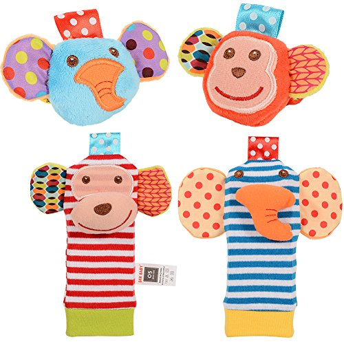 Zantec 2pcs Baby Handgelenk Rattle und 2pcs Fuß Rattles Finder Socken Set, Entwicklung Soft Animal Rattles Infant Baby Spielzeug Monkey & Elephant
