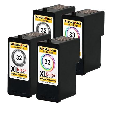 Alaskaprint 4er-Pack Kompatible Tintenpatronen Als Ersatz für Lexmark 32 XL + 33 XL (Schwarz ,