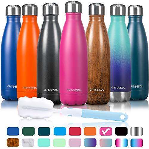 Arteesol bottiglia d'acqua bottiglia doppia in acciaio inox, tenere in caldo e freddo, per correre, andare in bicicletta