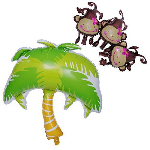 NUOLUX 4 Stück Party Dekoration Folienballon Palme und Affen Shape Ballons Party Geburtstag Baby Taufe deko Foto Requisiten