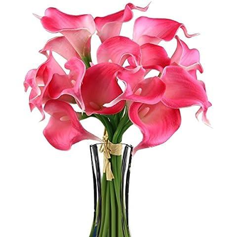 TININNA Látex real Touch realista Artificial flor de la cala Ramo de la boda de la flor Ramos Manojo Rose Red