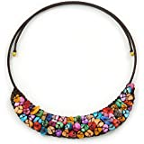 Multicoloured Sea Shell Bead Collar Flex Wire Choker Necklace - Adjustable