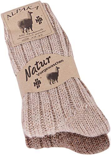 Wollsocken Alpaka Socken Damen Herren kuschelweich bis Größe 50, 2 Paar (43-46, 2 Paar beige/braun) - Herren Alpaka