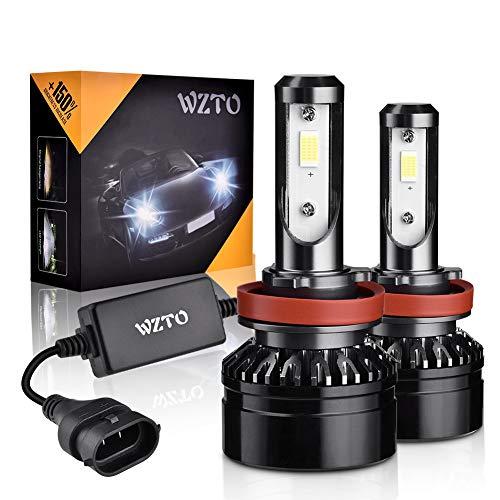 WZTO Lampadine H11/H9/H8 LED 10000LM,6000K 12-24V Fari Abbaglianti o Anabbaglianti per Auto,IP65 Impermeabile Kit Sostituzione per Alogena Lampade e Xenon Luci (2 pacchi)