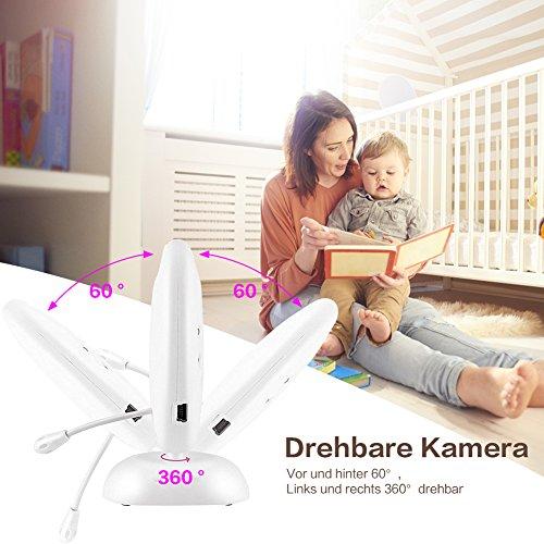 COSANSYS Babyphone mit Kamera,video babyphone, Wireless Video baby Monitor 2 Zoll LCD 2.4GHz Digital Baby Überwachung Digitalkamera mit Temperatursensor Schlaflieder Nachtsicht Gegensprechfunktion EU Plug (2.0 ZOll, weiß) - 5