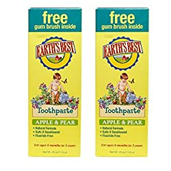 Earths Best Organic Apple Pear Baby Toothpaste, For Kids 6 Months to 3 Years, Natural & Organic Formula, Fluoride-Free, Safe If Swallowed, With Oat Bran, Beta-Glucan & Vitamin B5, 1.6 Oz (Pack of 2)