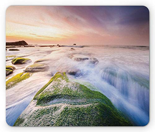 SHAQ Wave Mouse Pad Mauspad, Malaysia Landmark Nature Wonders Photo of Fountains Stream Mossy Rocks with Ombre Sky, Standard Size Rectangle Non-Slip Rubber Mousepad, Multicolor -