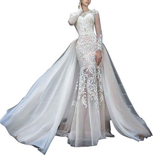 Changjie Damen Langarm Brautkleider Hochzeitskleider Meerjungfrau Spitze Hochzeitskleider Lang...