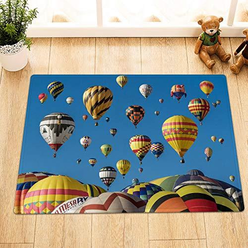 EdCott Heißluftballon Blauer Himmel Außentür Vorderkissen Flanell Innendekorationsmatte Küchentürmatte Badezimmermatte Schlafzimmer Teppich Hause Quadratmatte Farbe neu 40x60cm Persönlichkeit Mode -