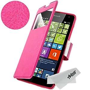 Avizar - Housse Etui Folio à Fenêtre pour Microsoft / Nokia Lumia 535 - Rose