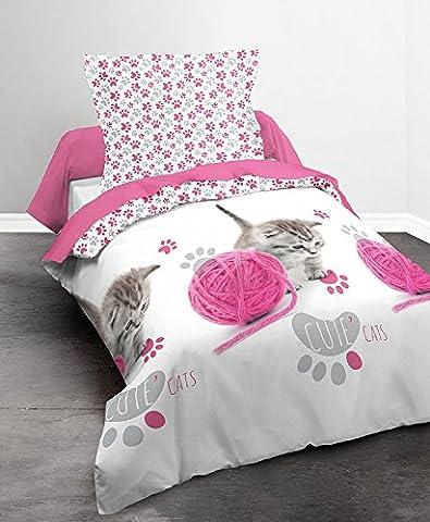 Today 013057 Happy Girl Cute Cat Parure de lit avec Housse de couette/Taie d'oreiller Coton Gris /Blanc/Rose 140 x 200