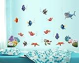 Zuolanyoulan Fische Wasserwelt im Ozean Unterwasserwelt Hai Fisch Meerestiere Wandsticker Wandaufkleber Raum Dekor Wall Sticker - 3