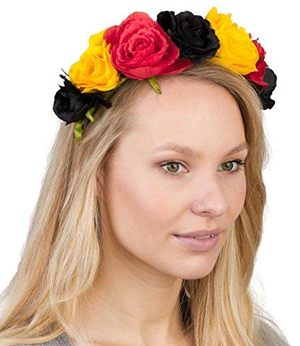 Haarschmuck, Blumenkranz mit Textil-Blumen in Schwarz, Rot, Gold (Deutschland Flagge), Fanartikel (315-489) (Piraten Prinzessin Kostüme Hat)