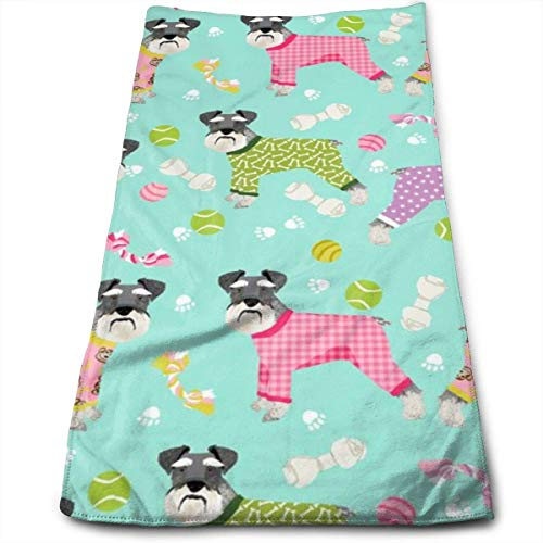 Schnauzers In Jammies (Large) Cute Dogs In Pajamas Pyjamas Hand Towels Dishcloth Floral Linen Hand Towels Super Soft Extra Absorbent for Bath,Spa and Gym 12