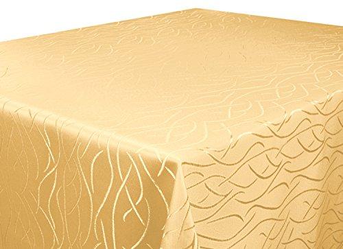 Silver Tischdecke gelb 130x260 cm eckig in glanzvoller Streifenoptik, eckig - Größe, Farbe & Form...