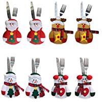 CHENPU 8PCS Christmas Cutlery Bags Silverware Holders Pockets Knifes Forks Bag Party Festival Decorative