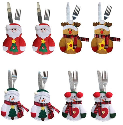 8PCS Christmas Cutlery Bags Silverware Holders Pockets Knifes Forks Bag Party Festival Decorative