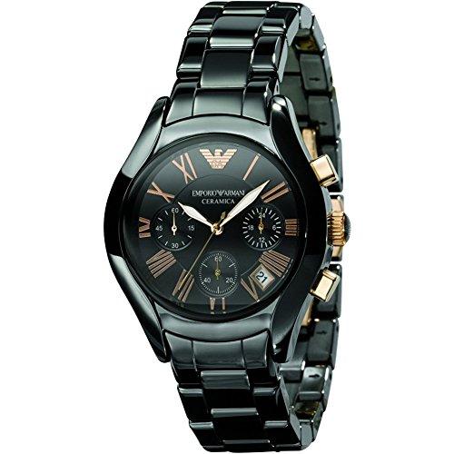 Emporio Armani da uomo AR1411Ceremica orologio braccialetto nero con quadrante nero e oro rosa numeri romani