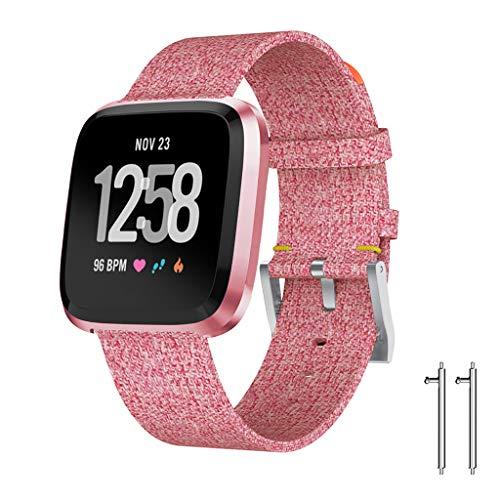 Für Fitbit Versa Lite Armband MuSheng Mode Luxus Luxus Gewebte Stoff Watchband Damen Herren Sport Bracelet Luxus Strap Wristband für Fitbit Versa Lite (Rosa)