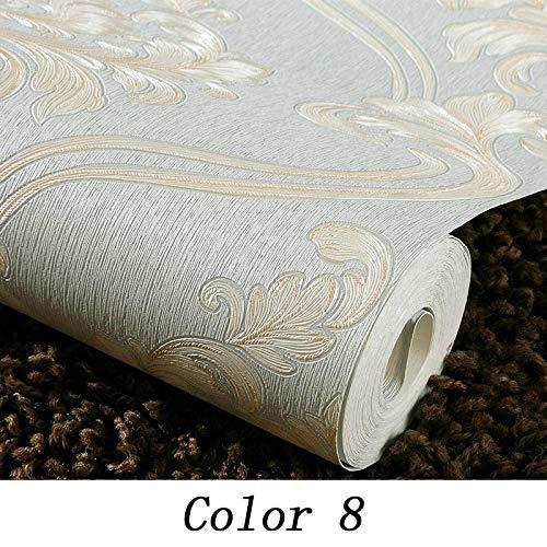 Damaskus, 8 (LFBIZHI wasserdichte PVC Europäischen Stil 3D Tapete Geprägte Damaskus Vinyl Tapetenrollen Für Wohnzimmer TV Hintergrund Wände Decor 5,3㎡ Farbe 8)