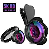 SYOSIN Lentes para Moviles Kit, 5K HD 5 en 1 Clip On de Fish Eye 180 Grados + 0,45X Gran Angular Lente + 20X Macro Lente + Lente CPL + Obturador Remoto, Teléfono Kit de Lentes para iPhone, Samsung